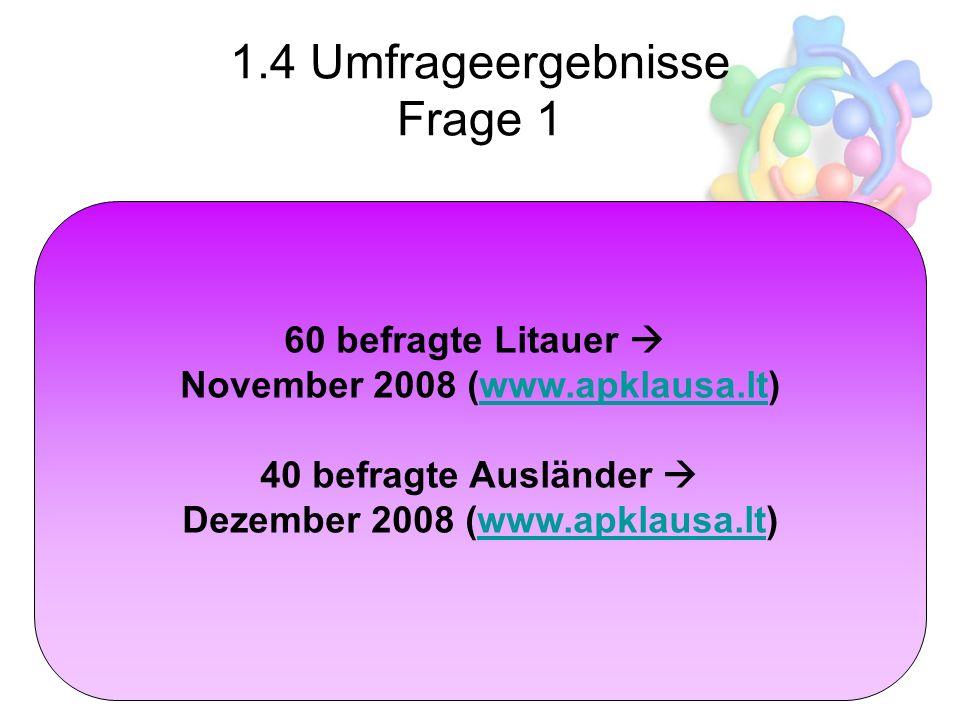 1.4 Umfrageergebnisse Frage 1 ? 60 befragte Litauer November 2008 (www.apklausa.lt)www.apklausa.lt 40 befragte Ausländer Dezember 2008 (www.apklausa.l
