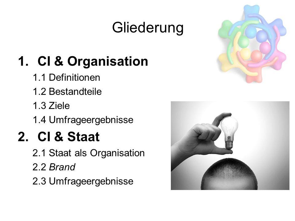Gliederung 1.CI & Organisation 1.1 Definitionen 1.2 Bestandteile 1.3 Ziele 1.4 Umfrageergebnisse 2.CI & Staat 2.1 Staat als Organisation 2.2 Brand 2.3