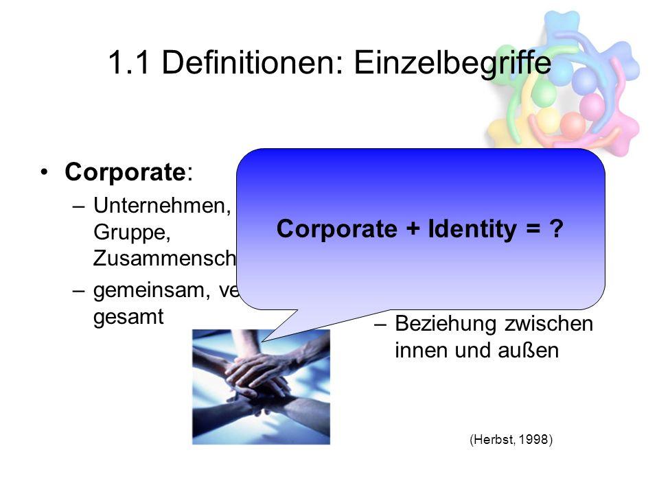 1.1 Definitionen: Einzelbegriffe Corporate: –Unternehmen, Verein, Gruppe, Zusammenschluss –gemeinsam, vereint, gesamt Identity: –Identität, Gleichheit