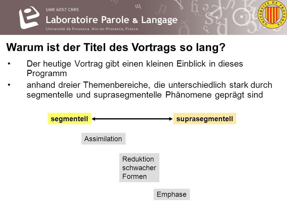 Warum ist der Titel des Vortrags so lang.Ganz einfach, weil er ein Programm repräsentiert.