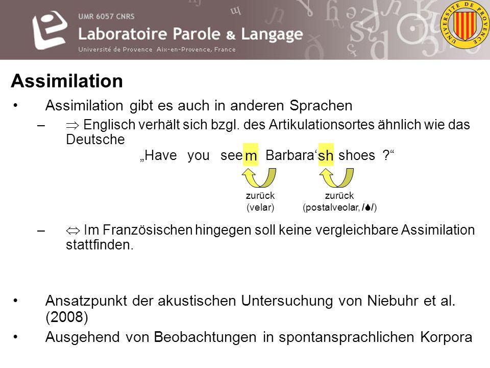 Assimilation kann das schaffen bis Samstag sch m zurück (velar) / / zurück (postalveolar) / / mit Lippen (bilabial) Assimilation: phonologischer Prozess, bei dem ein Element (Phonem bzw.