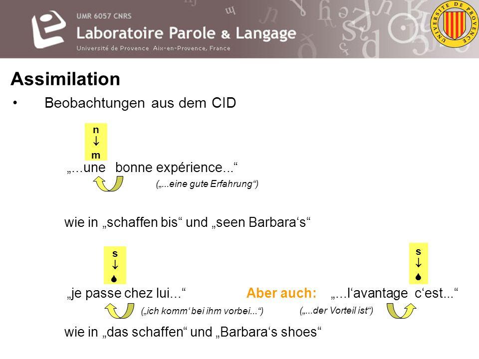 Assimilation Zum Französischen: der CID (= Corpus of Interaction Data) von Bertrand et al.