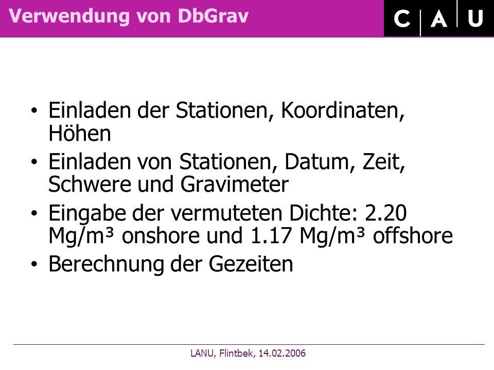 Verwendung von DbGrav Einladen der Stationen, Koordinaten, Höhen Einladen von Stationen, Datum, Zeit, Schwere und Gravimeter Eingabe der vermuteten Di