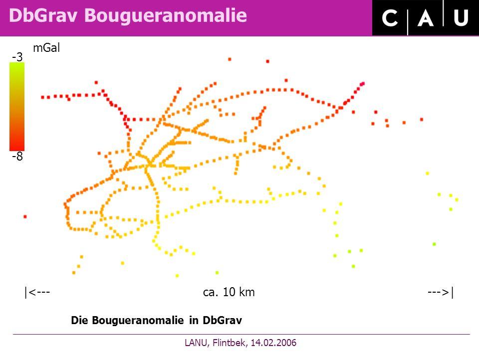 DbGrav Bougueranomalie LANU, Flintbek, 14.02.2006 Die Bougueranomalie in DbGrav | mGal -3 -8