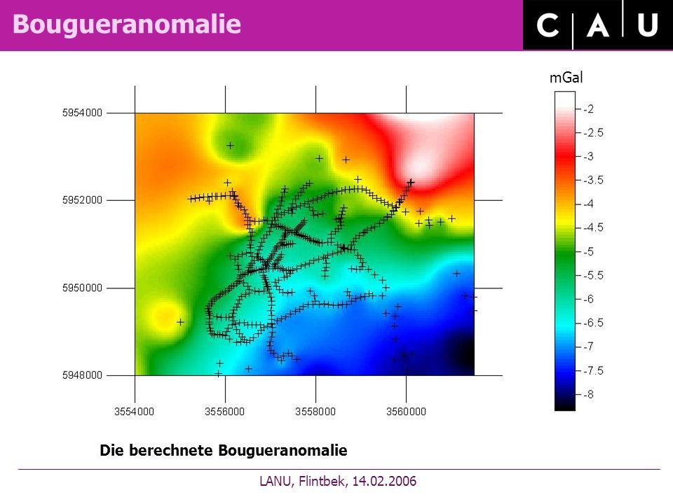 Bougueranomalie LANU, Flintbek, 14.02.2006 Die berechnete Bougueranomalie mGal