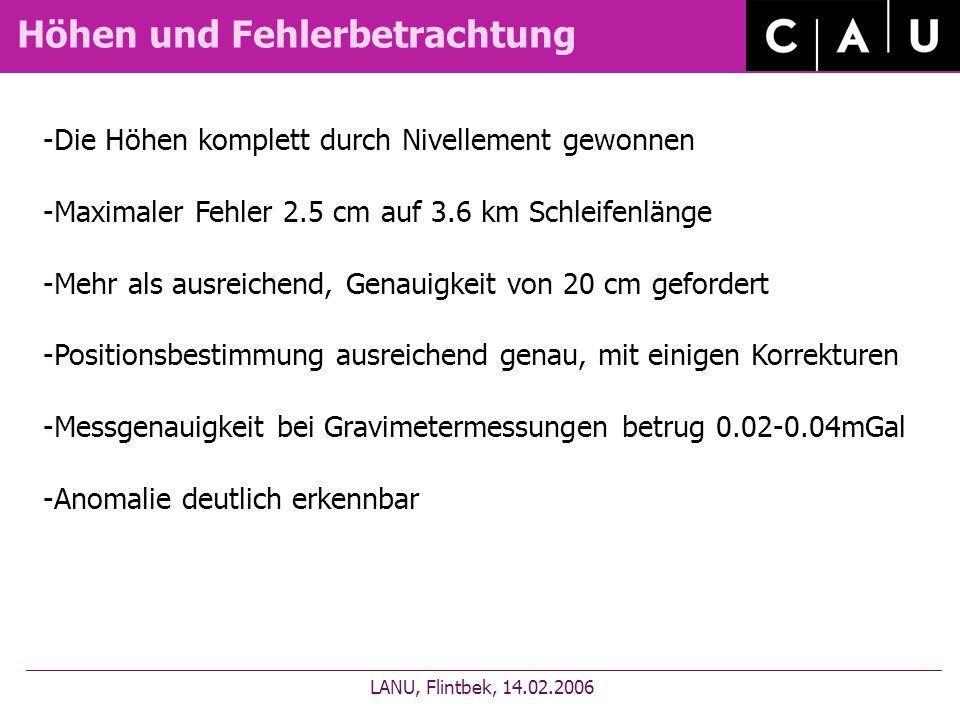 Höhen und Fehlerbetrachtung LANU, Flintbek, 14.02.2006 -Die Höhen komplett durch Nivellement gewonnen -Maximaler Fehler 2.5 cm auf 3.6 km Schleifenlän