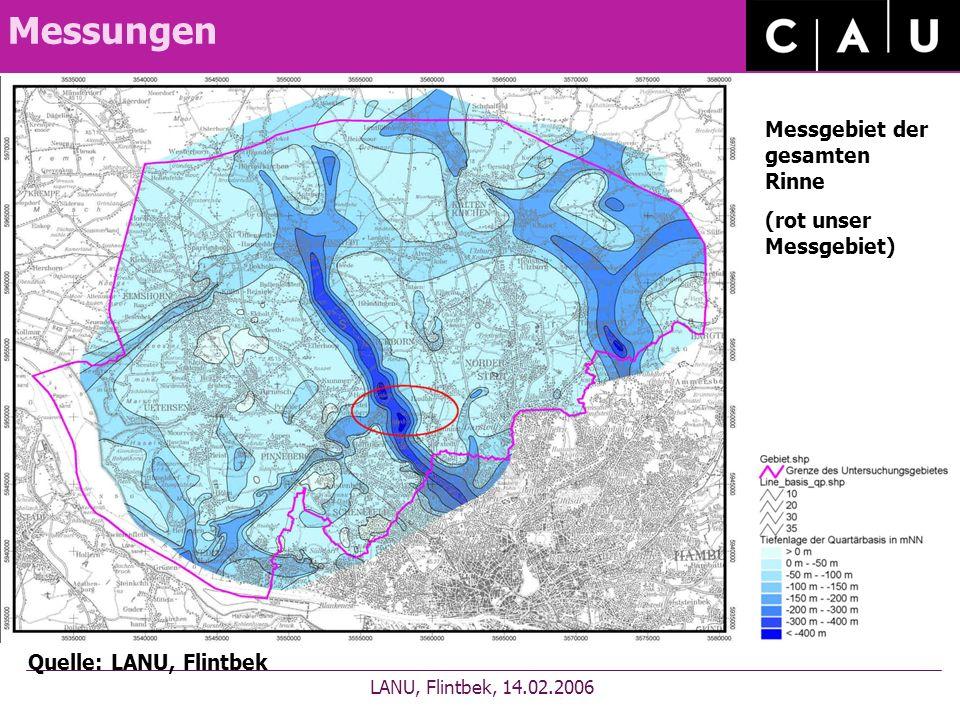 Messungen LANU, Flintbek, 14.02.2006 Quelle: LANU, Flintbek Messgebiet der gesamten Rinne (rot unser Messgebiet)