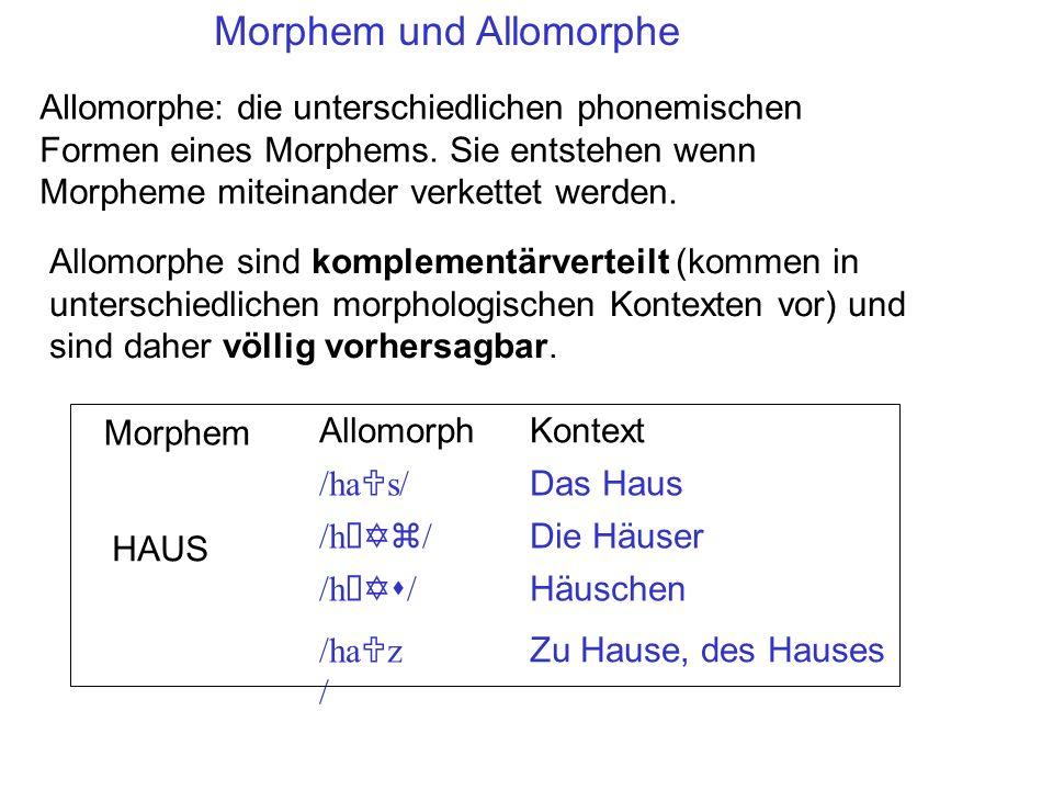 Morphem und Allomorphe /ha U s//h Yz //h Ys //ha U z / Verschiedene, aus Phonemen bestehende Allomorphe Jedes Morphem hat EINE phonemiche Form genannt eine UR (underlying representation) = zugrundeliege Represenation UR des Morphems HAUS Da allomorphische Alternationen redundant/vorhersagbar sind, sollten sie aus dem Lexikon entfernt und in Regeln umgesetzt werden.