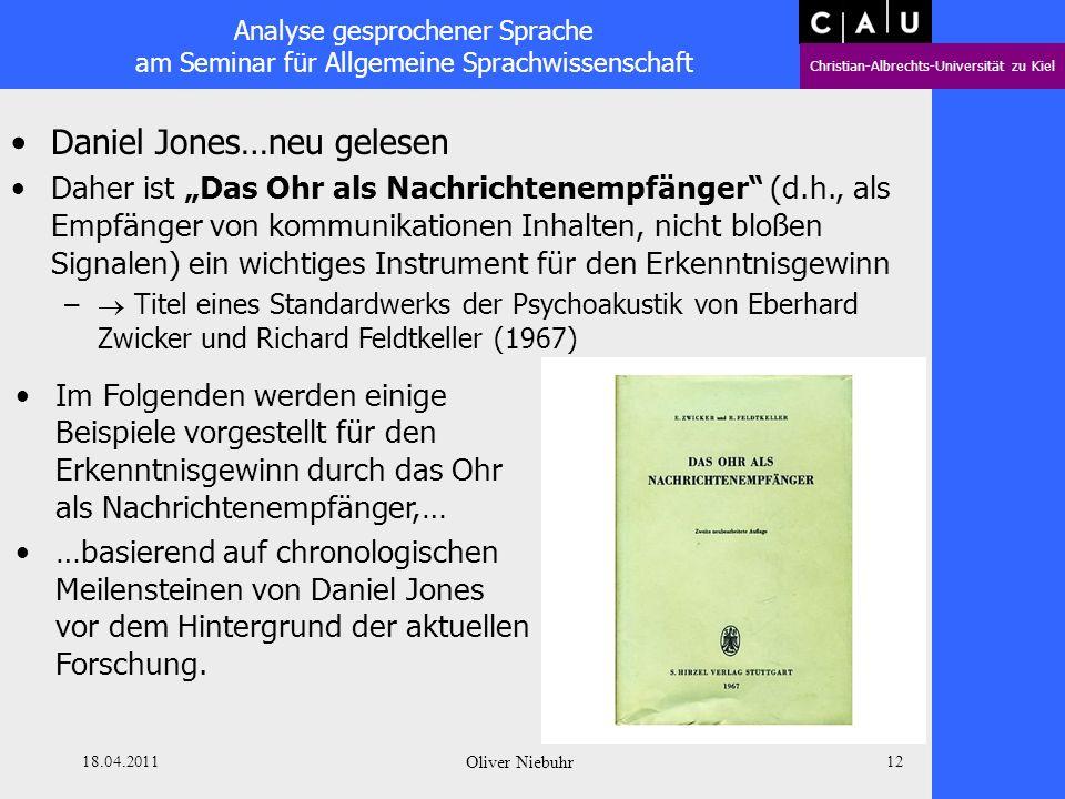 Analyse gesprochener Sprache am Seminar für Allgemeine Sprachwissenschaft Christian-Albrechts-Universität zu Kiel 18.04.2011 Oliver Niebuhr 11 Daniel