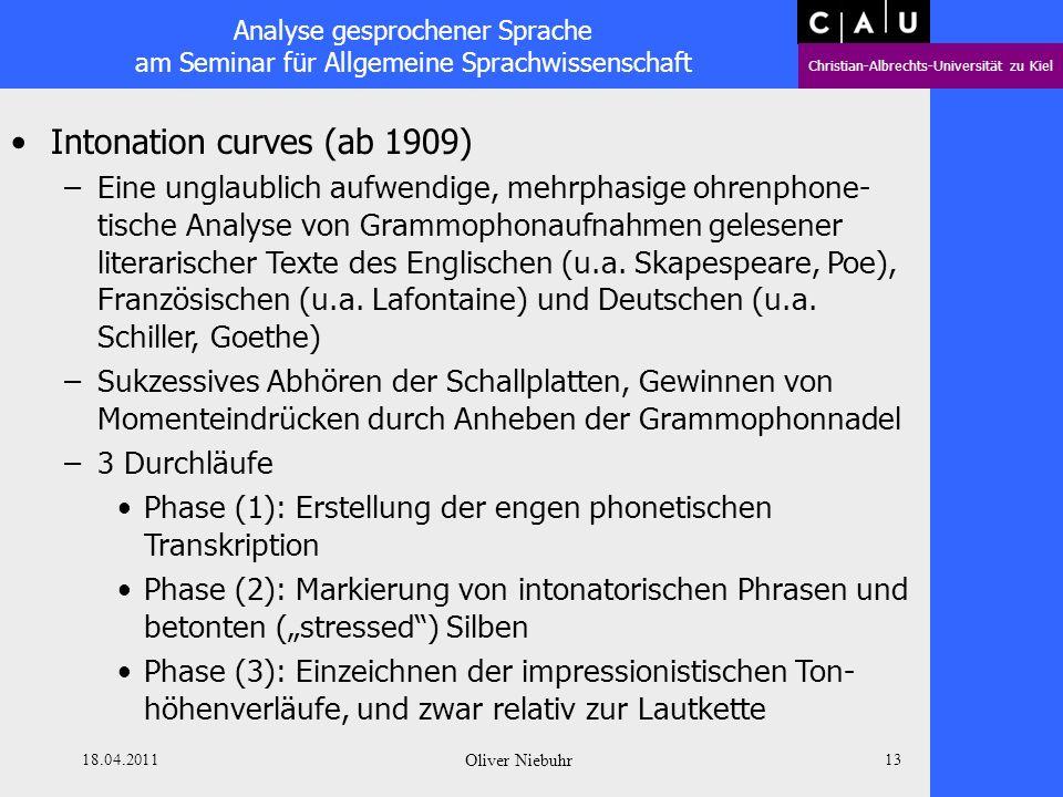 Analyse gesprochener Sprache am Seminar für Allgemeine Sprachwissenschaft Christian-Albrechts-Universität zu Kiel 18.04.2011 Oliver Niebuhr 12 Daniel