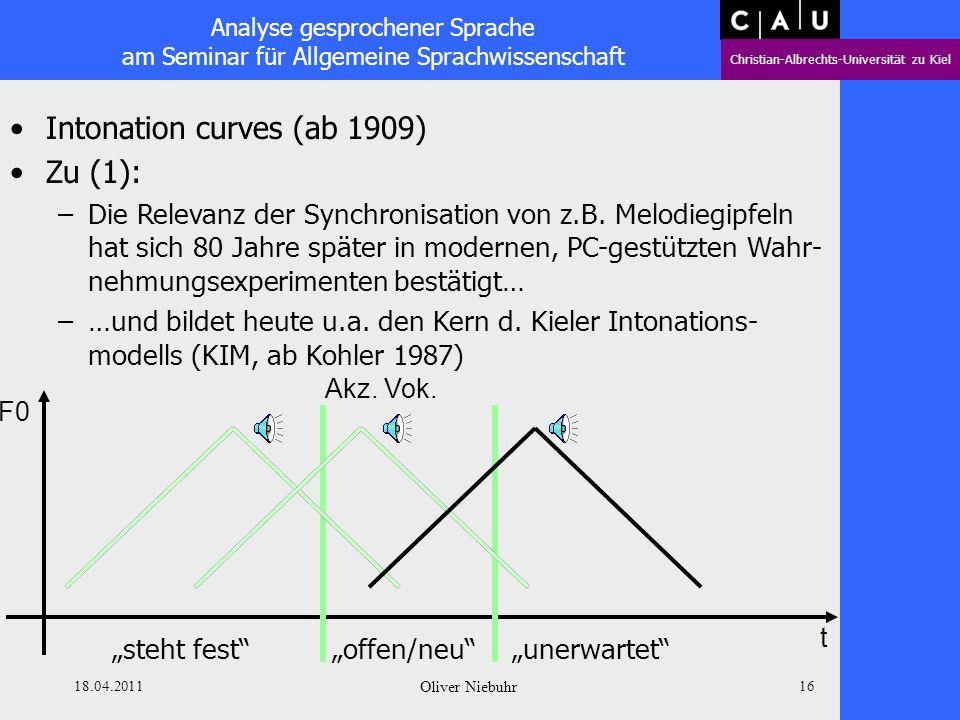 Analyse gesprochener Sprache am Seminar für Allgemeine Sprachwissenschaft Christian-Albrechts-Universität zu Kiel 18.04.2011 Oliver Niebuhr 15 Intonat