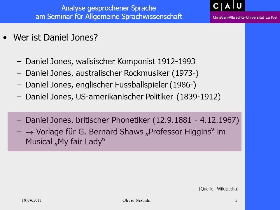 Analyse gesprochener Sprache am Seminar für Allgemeine Sprachwissenschaft Christian-Albrechts-Universität zu Kiel 18.04.2011 Oliver Niebuhr 1 Classics