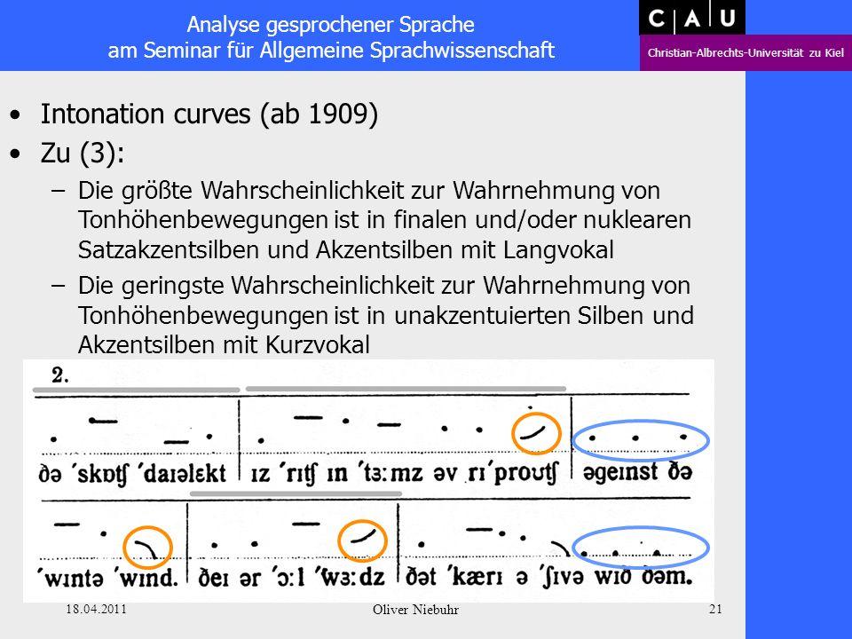 Analyse gesprochener Sprache am Seminar für Allgemeine Sprachwissenschaft Christian-Albrechts-Universität zu Kiel 18.04.2011 Oliver Niebuhr 20 Intonat