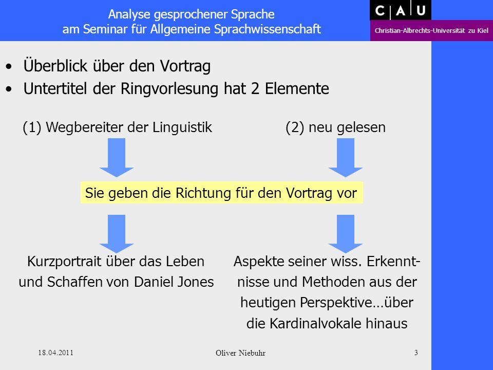Analyse gesprochener Sprache am Seminar für Allgemeine Sprachwissenschaft Christian-Albrechts-Universität zu Kiel 18.04.2011 Oliver Niebuhr 2 Wer ist