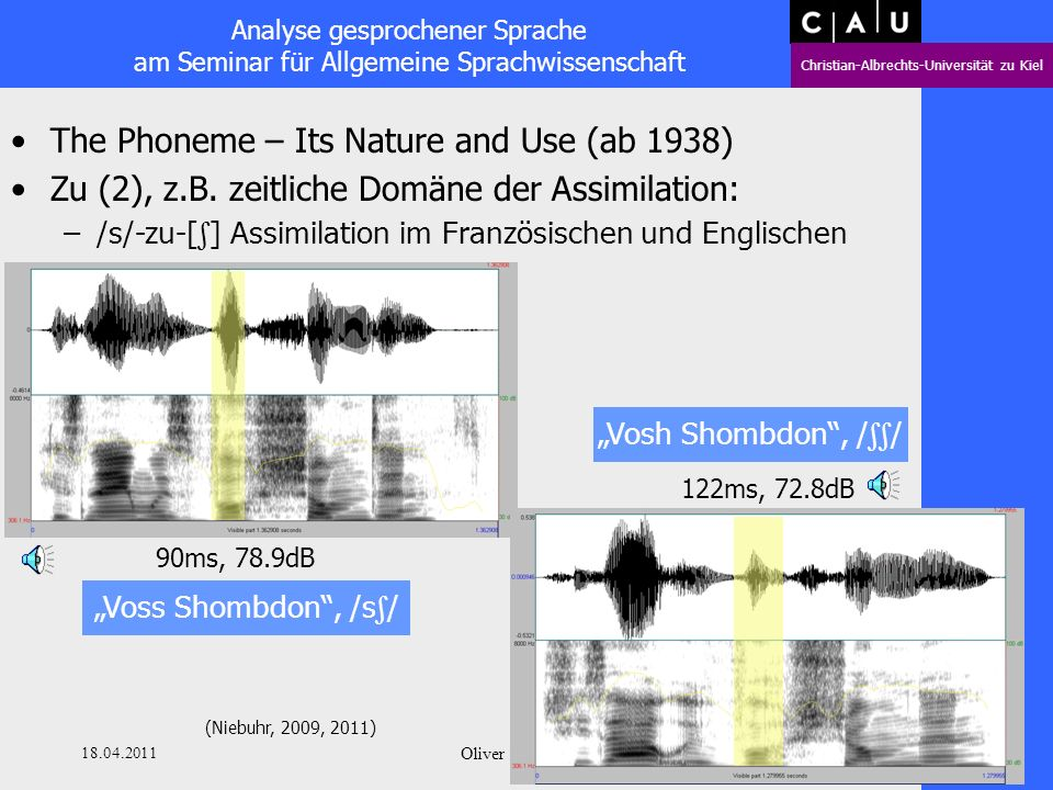 Analyse gesprochener Sprache am Seminar für Allgemeine Sprachwissenschaft Christian-Albrechts-Universität zu Kiel 18.04.2011 Oliver Niebuhr 30 The Phoneme – Its Nature and Use (ab 1938) Zu (2), z.B.