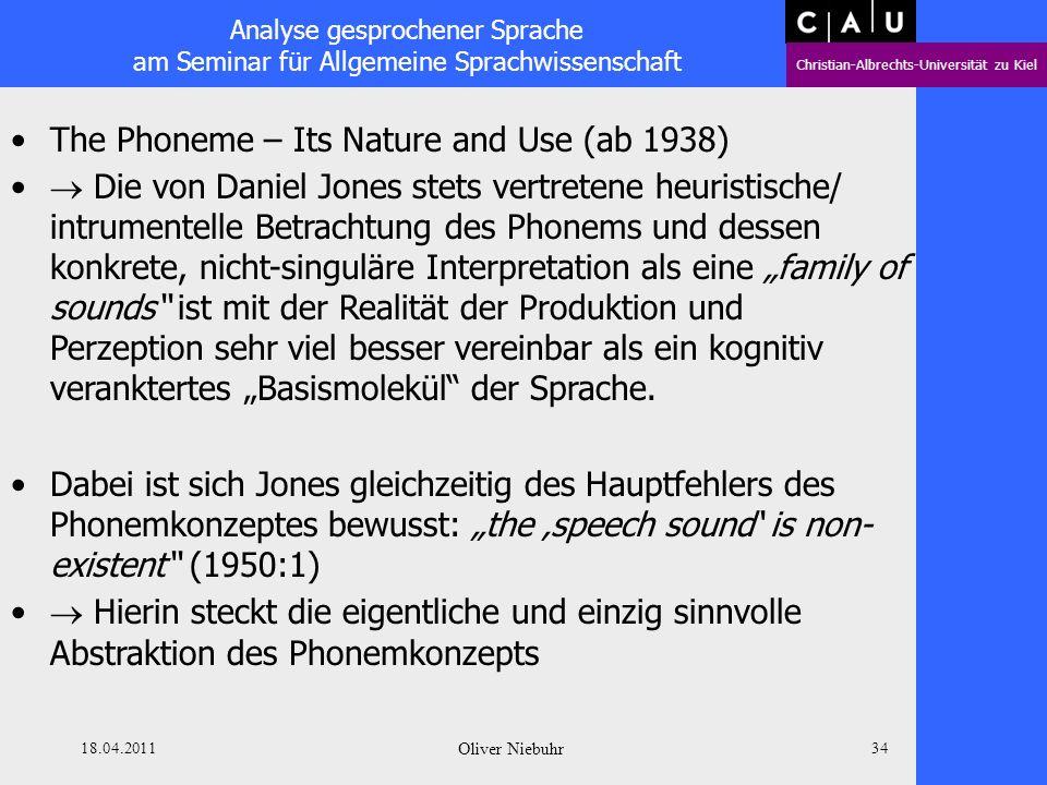 Analyse gesprochener Sprache am Seminar für Allgemeine Sprachwissenschaft Christian-Albrechts-Universität zu Kiel 18.04.2011 Oliver Niebuhr 33 The Pho