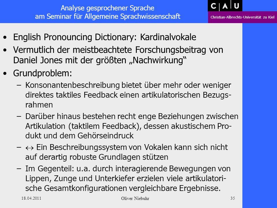 Analyse gesprochener Sprache am Seminar für Allgemeine Sprachwissenschaft Christian-Albrechts-Universität zu Kiel 18.04.2011 Oliver Niebuhr 34 The Pho