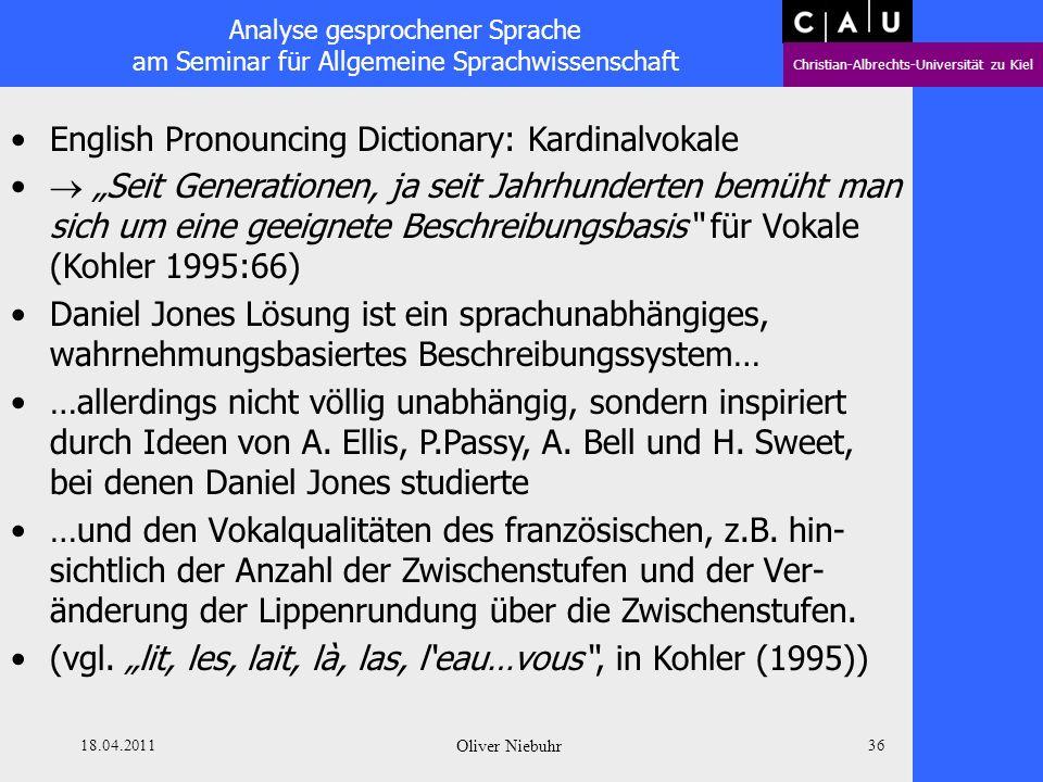 Analyse gesprochener Sprache am Seminar für Allgemeine Sprachwissenschaft Christian-Albrechts-Universität zu Kiel 18.04.2011 Oliver Niebuhr 35 English