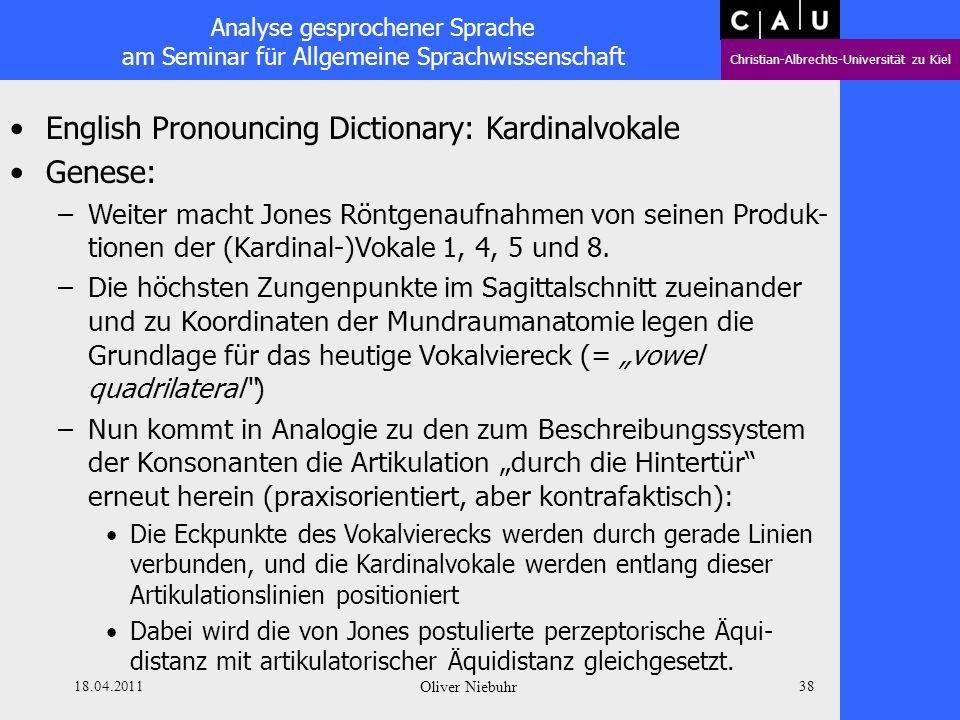 Analyse gesprochener Sprache am Seminar für Allgemeine Sprachwissenschaft Christian-Albrechts-Universität zu Kiel 18.04.2011 Oliver Niebuhr 37 English