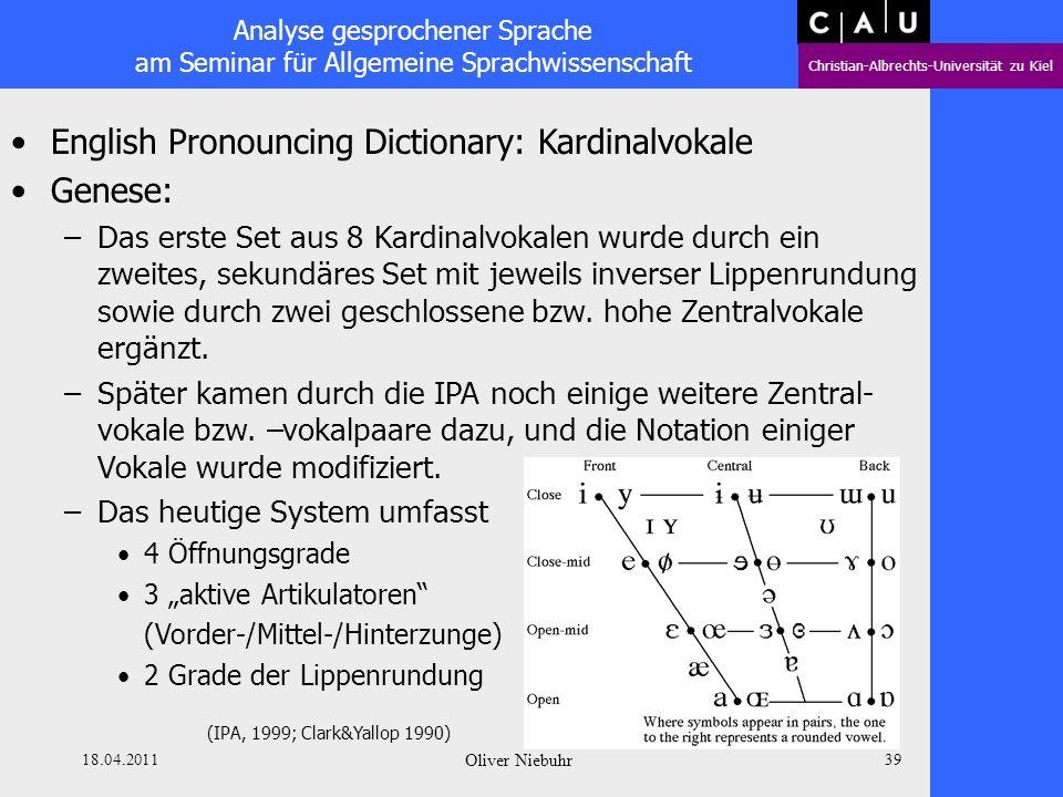 Analyse gesprochener Sprache am Seminar für Allgemeine Sprachwissenschaft Christian-Albrechts-Universität zu Kiel 18.04.2011 Oliver Niebuhr 38 English