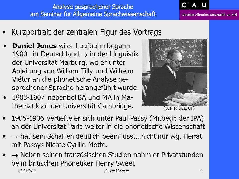 Analyse gesprochener Sprache am Seminar für Allgemeine Sprachwissenschaft Christian-Albrechts-Universität zu Kiel 18.04.2011 Oliver Niebuhr 3 Überblic