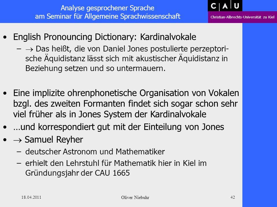 Analyse gesprochener Sprache am Seminar für Allgemeine Sprachwissenschaft Christian-Albrechts-Universität zu Kiel 18.04.2011 Oliver Niebuhr 41 English
