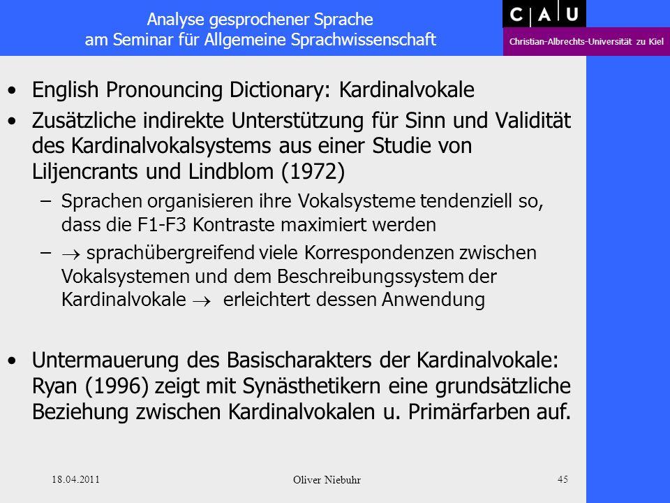 Analyse gesprochener Sprache am Seminar für Allgemeine Sprachwissenschaft Christian-Albrechts-Universität zu Kiel 18.04.2011 Oliver Niebuhr 44 English