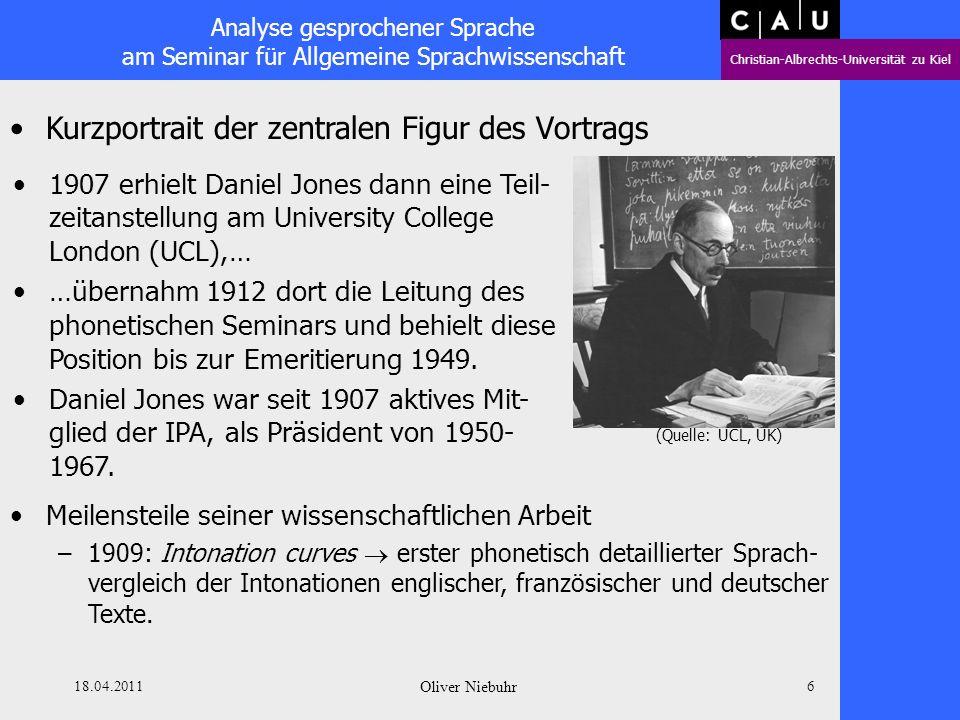 Analyse gesprochener Sprache am Seminar für Allgemeine Sprachwissenschaft Christian-Albrechts-Universität zu Kiel 18.04.2011 Oliver Niebuhr 5 Kurzport