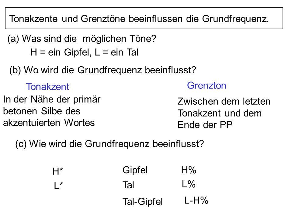 3. Eine Melodie pro prosodische Phrase. Bestandteil einer Melodie Ein Tonakzent (*) pro akzentuiertes Wort Ein Grenzton (%) am Ende der PP