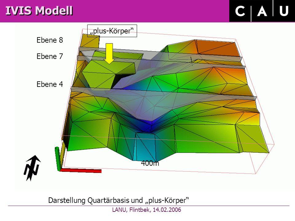 IVIS Modell Darstellung Quartärbasis und plus-Körper 400m Ebene 4 Ebene 7 Ebene 8 plus-Körper LANU, Flintbek, 14.02.2006
