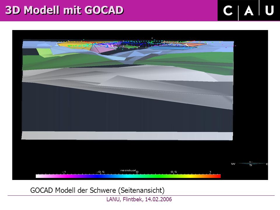 3D Modell mit GOCAD GOCAD Modell der Schwere (Seitenansicht) LANU, Flintbek, 14.02.2006