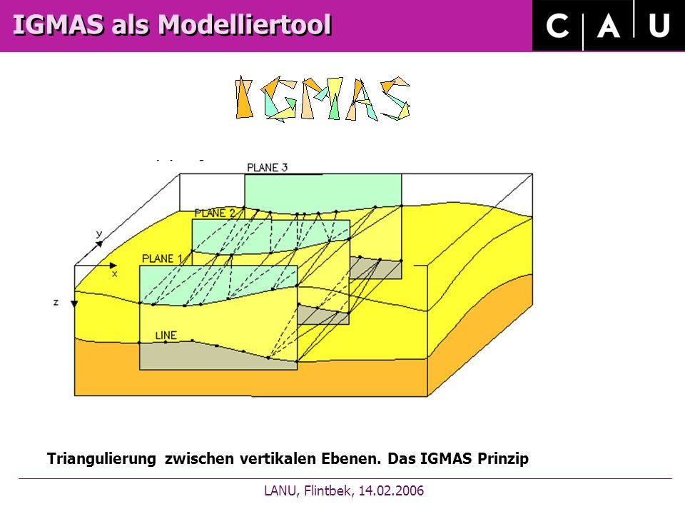 IGMAS als Modelliertool LANU, Flintbek, 14.02.2006 Triangulierung zwischen vertikalen Ebenen.