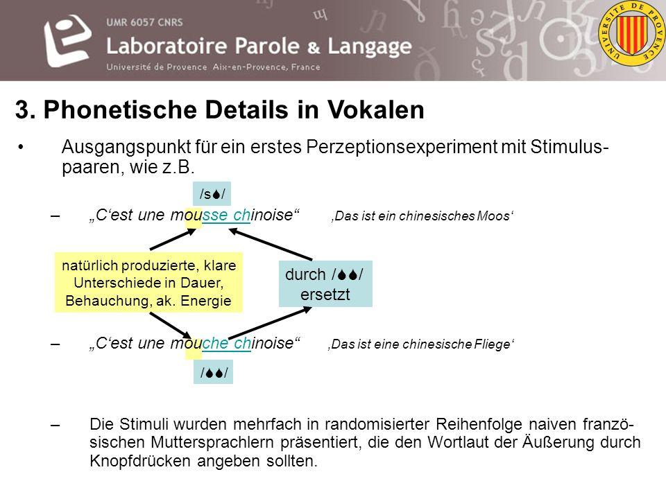 Die Vokale vor den alveolaren und postalveolaren Sibilanten weisen systematische Unterschiede auf. –Vokal vor /, / u.a. (1) länger sowie (2) leiser un