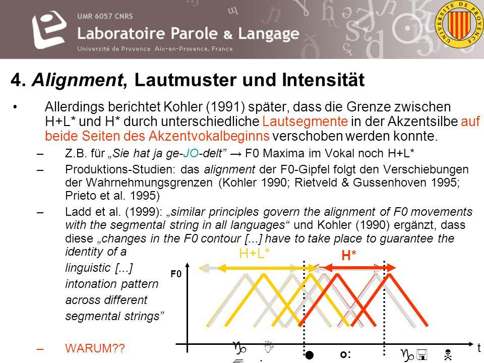 Westgermanische sowie viele andere Sprachen (neapolitanisches Italienisch) zeichnen sich durch ein Inventar an Grundfrequenz-/ F0-Mustern aus, die mit
