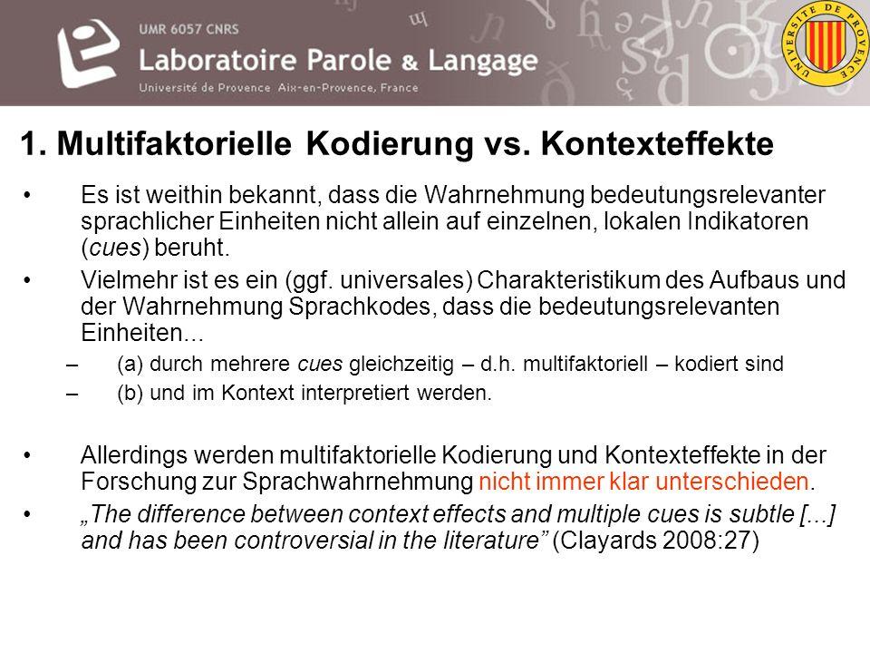 Multifaktorielle Kodierung und Kontexteffekte in der Sprachwahrnehmung Oliver Niebuhr Probevortrag im Rahmen der W1-Juniorprofessur für Allgemeine Spr