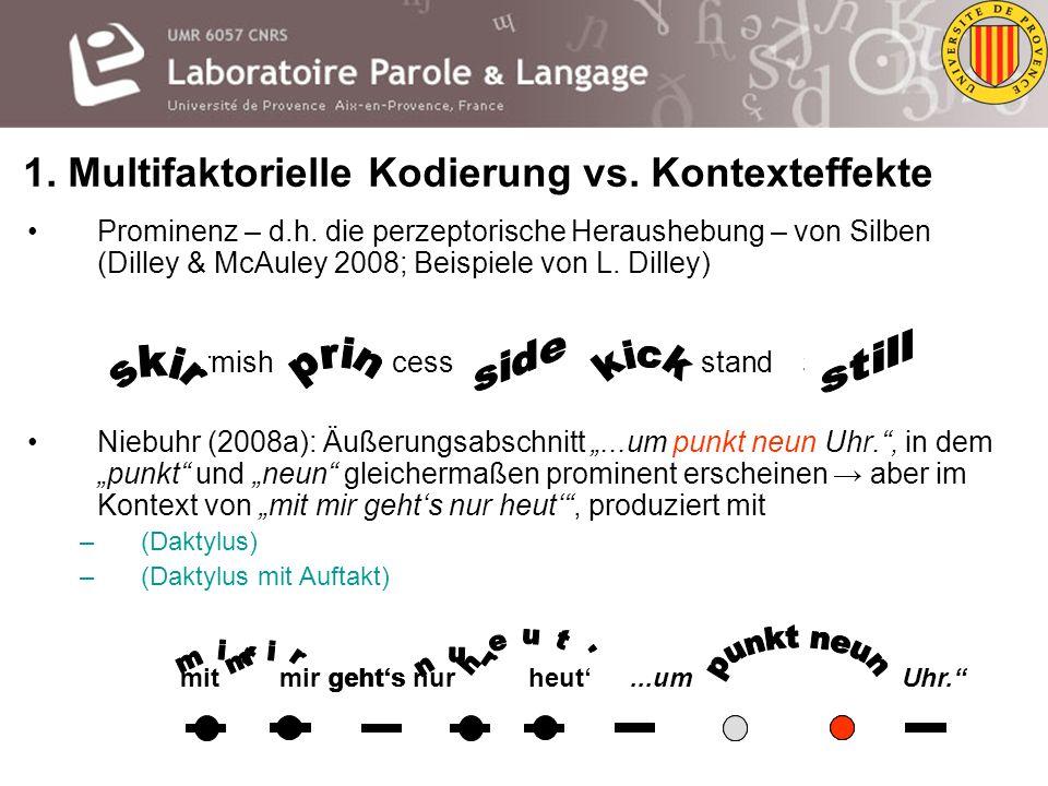 1. Multifaktorielle Kodierung vs. Kontexteffekte Zwei mögliche Arbeitsdefinitionen: –Multifaktorielle Kodierung = lokale und globale phonetische Ereig