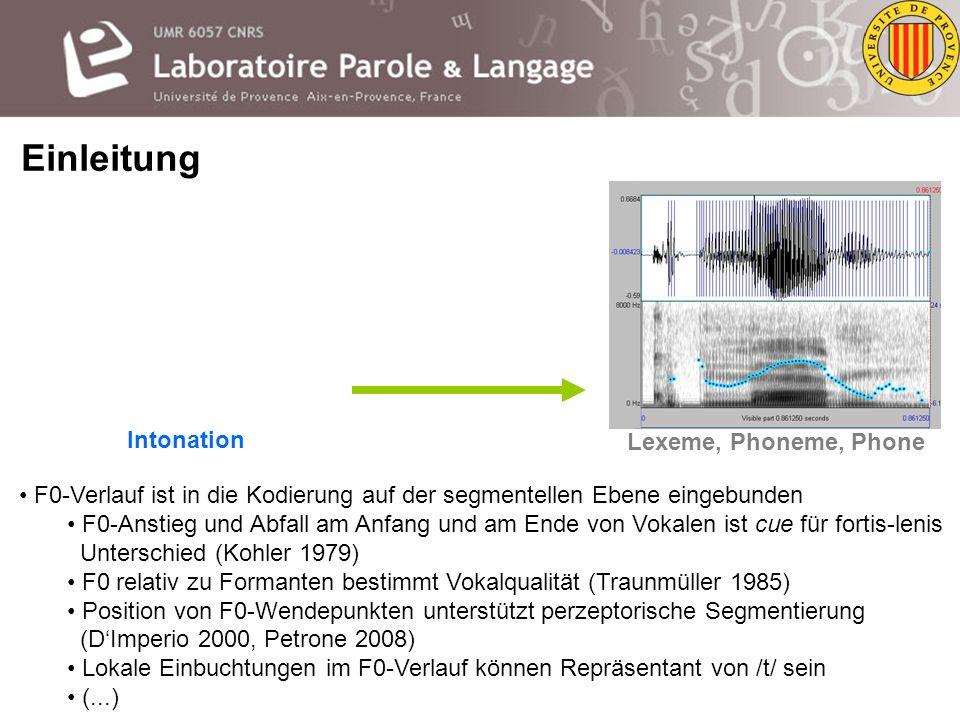 Die Segmentelle und Suprasegmentelle Kodierung intonatorischer Einheiten Oliver Niebuhr oliver.niebuhr@lpl-aix.fr Gastvortrag am IPS, LMU München Münc
