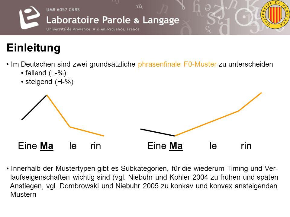 Einleitung Zur Signallisierung Ein weiterer Aspekt der Kodierung ist das interne Timing der F0-Bewegungen, d.h. die Geschwindigk. bzw. Dauer des Steig