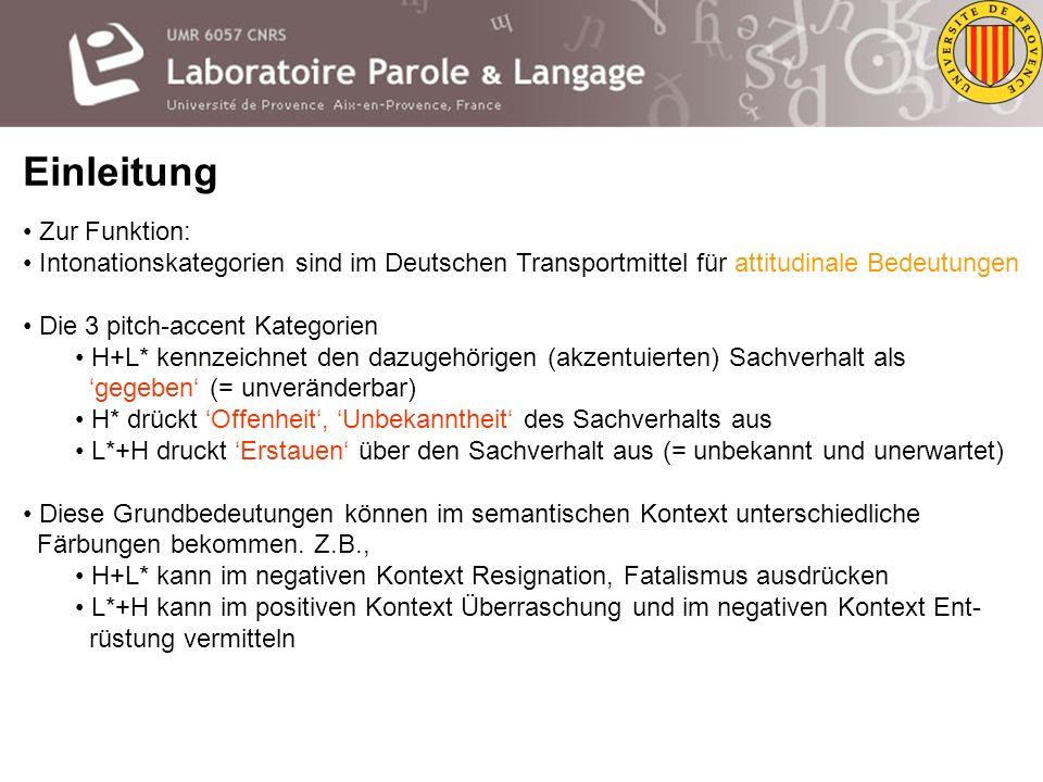 Einleitung Im Deutschen sind zwei grundsätzliche phrasenfinale F0-Muster zu unterscheiden fallend (L-%) steigend (H-%) Innerhalb der Mustertypen gibt