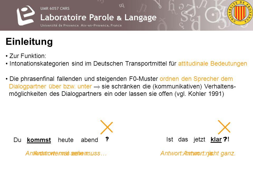 Einleitung Zur Funktion: Intonationskategorien sind im Deutschen Transportmittel für attitudinale Bedeutungen Die 3 pitch-accent Kategorien H+L* kennz