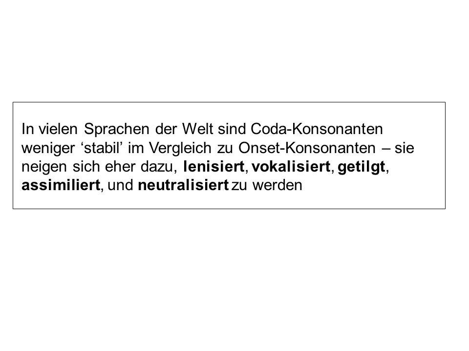 Silbenaufbau in Deutsch Silben: ohne Onset: echt, auf, uns, usw. ohne Coda, genannt offene Silben: Frau (Mit Coda = geschlossene Silben) ohne Onset, O