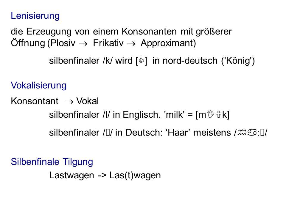 In vielen Sprachen der Welt sind Coda-Konsonanten weniger stabil im Vergleich zu Onset-Konsonanten – sie neigen sich eher dazu, lenisiert, vokalisiert