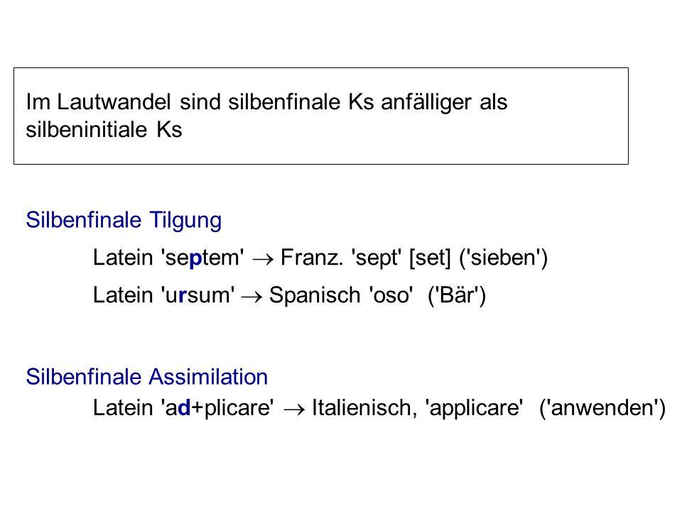 Assimilation Neutralisierung Viele phonemische Kontraste werden silbenfinal aufgehoben z.B., Auslautverhärtung in deutsch: 'Rat'/'Rad = /Òat/) Die Flu