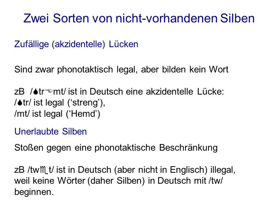 Italienischsbagliare--- Legale Konsonanten am Anfang einer Silbe /kn//tw//vr//zb/ DeutschKneipe-Wrack- Englischtwice--- Französischvrai-toi- Phonotaktische Beschränkungen sind sprachbedingt