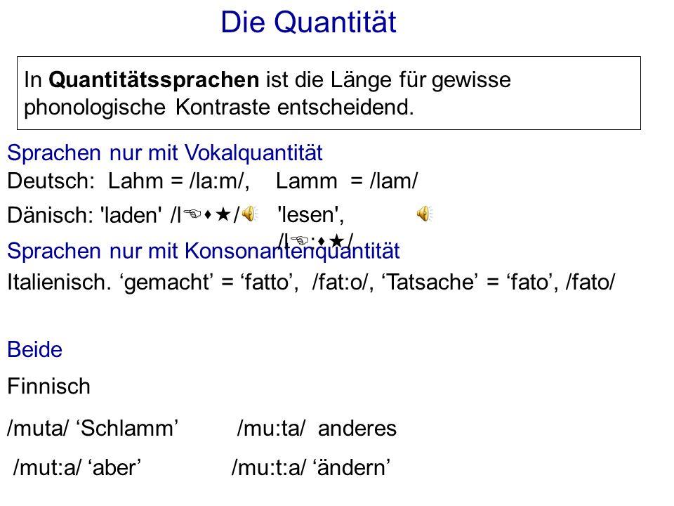 Wie Wörter voneinander durch Quantität, Ton, und Betonung unterschieden werden können.