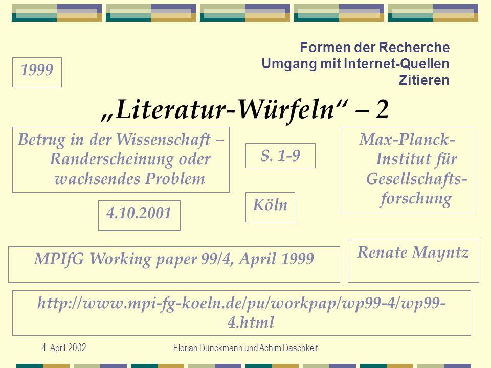 4. April 2002Florian Dünckmann und Achim Daschkeit Formen der Recherche Umgang mit Internet-Quellen Zitieren Literatur-Würfeln – 2 Max-Planck- Institu
