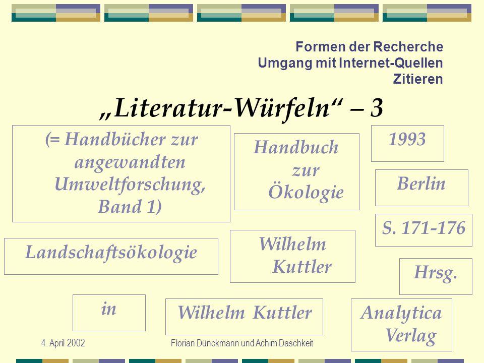 4. April 2002Florian Dünckmann und Achim Daschkeit Formen der Recherche Umgang mit Internet-Quellen Zitieren Literatur-Würfeln – 3 Handbuch zur Ökolog