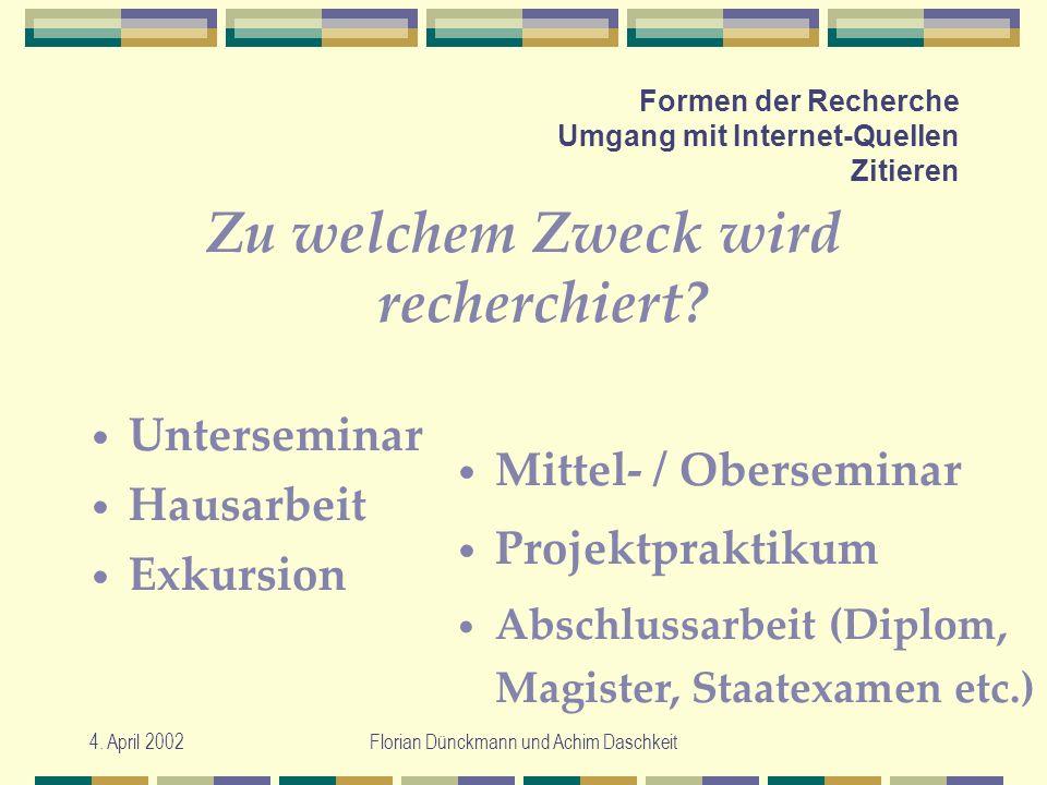 4. April 2002Florian Dünckmann und Achim Daschkeit Formen der Recherche Umgang mit Internet-Quellen Zitieren Zu welchem Zweck wird recherchiert? Unter