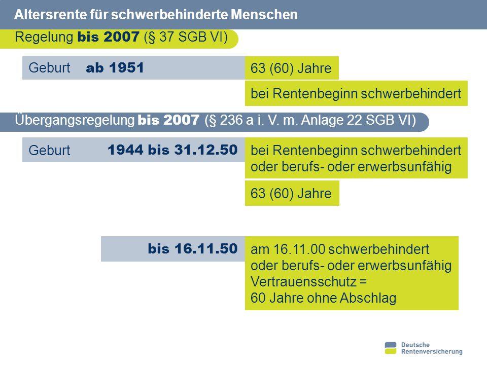21 Altersrente für schwerbehinderte Menschen Voraussetzungen Geburt ab 01.01.51 Wartezeit 35 Jahre Hinzuverdienstgrenzen 60 (62) Jahre und Schwerbehinderung (GdB mindestens 50 %)