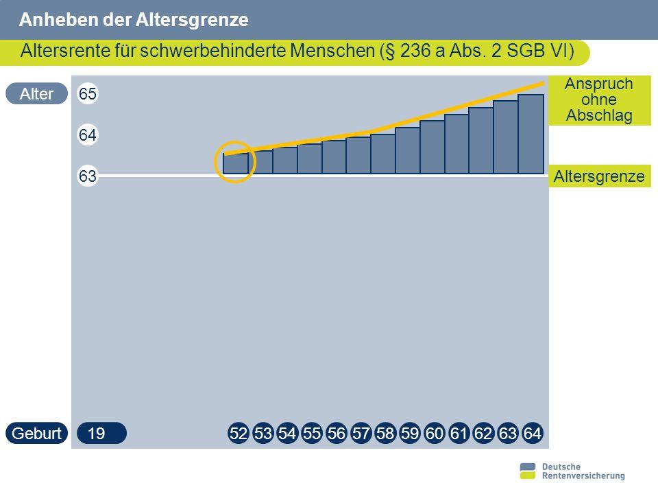 23 Altersrente für schwerbehinderte Menschen Regelung ab 2008 (§ 37 SGB VI) 65 (62) Jahre Übergangsregelung ab 2008 (§ 236 a SGB VI) bei Rentenbeginn